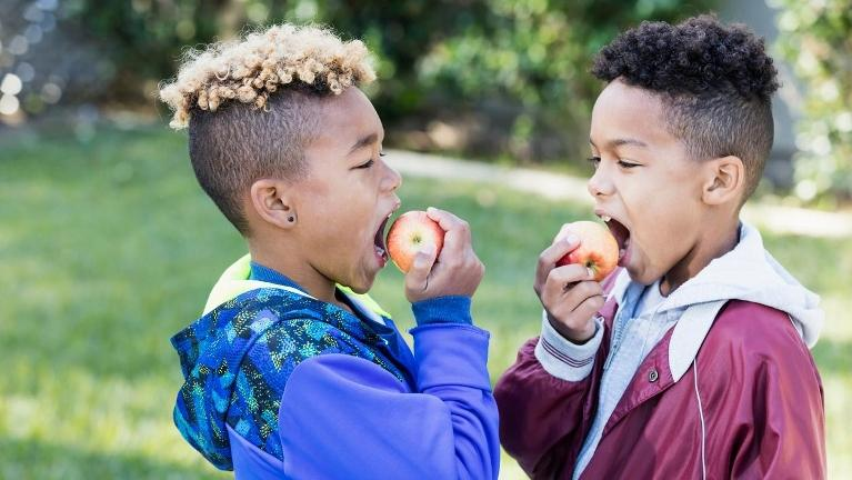 two boys eating red apples